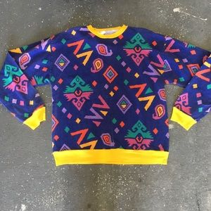 vintage 80s abstract patterned sweater